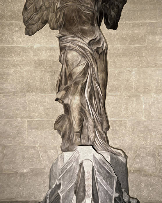 Winged Victory Poster featuring the painting The Winged Victory Of Samothrace Marble Sculpture Of The Greek Goddess Nike Victory by Gregory Dyer