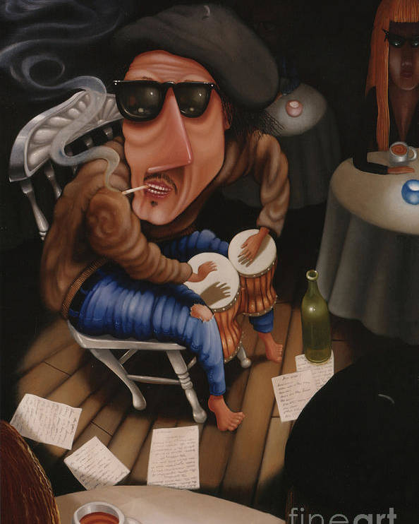 Bongo Poster featuring the painting The Y-not Coffee House 1999 by Lawrence Preston