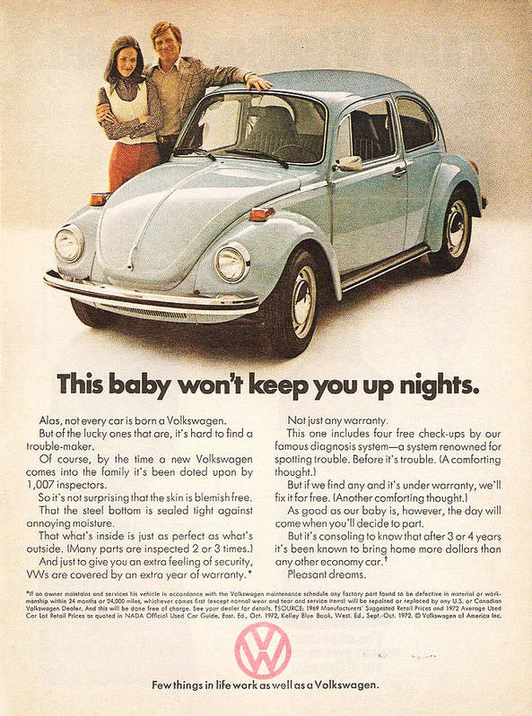 Vw Beetle Poster featuring the digital art This Baby Won't Keep You Up Nights by Georgia Fowler