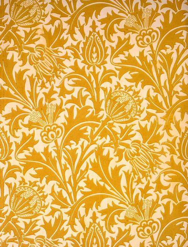 William Morris Poster featuring the drawing Thistle Wallpaper Design, Late 19th by William Morris