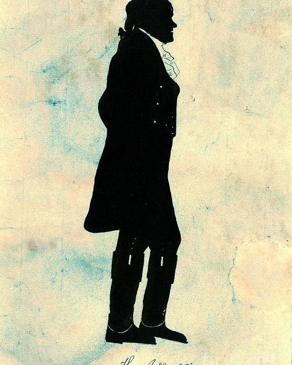 Thomas Jefferson Silhouette 1800 Poster featuring the photograph Thomas Jefferson Silhouette 1800 by Padre Art