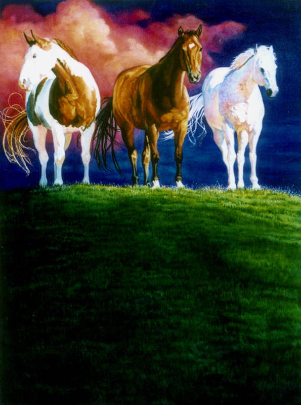 Painting Of Three Horses Poster featuring the painting Three Amigos by Hanne Lore Koehler