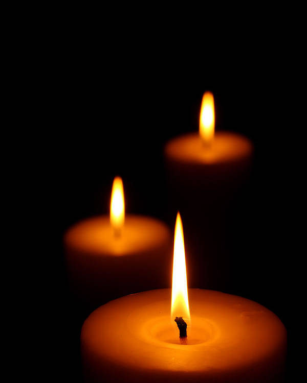 Candle Poster featuring the photograph Three Burning Candles by Johan Swanepoel