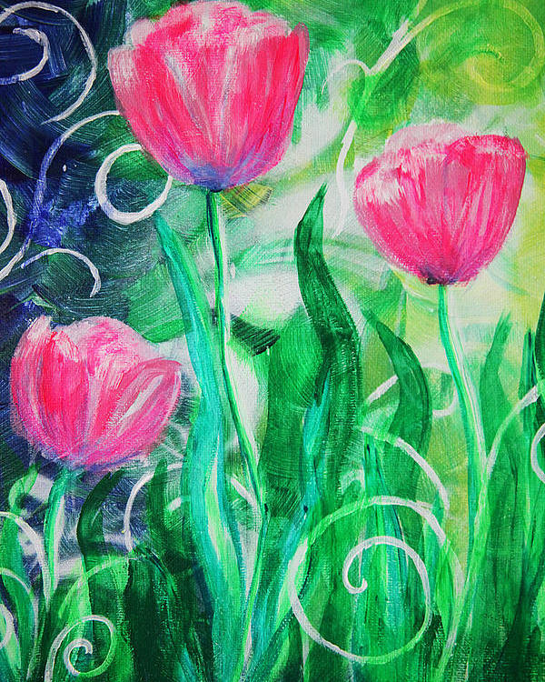 Tulips Poster featuring the painting Three Dancing Tulips by Jan Marvin