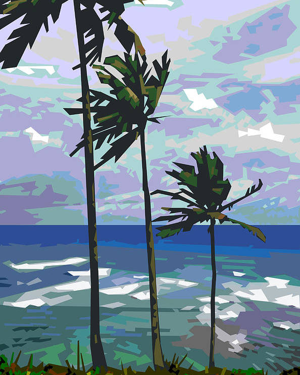 Palm Trees Poster featuring the digital art Three Palms by Douglas Simonson