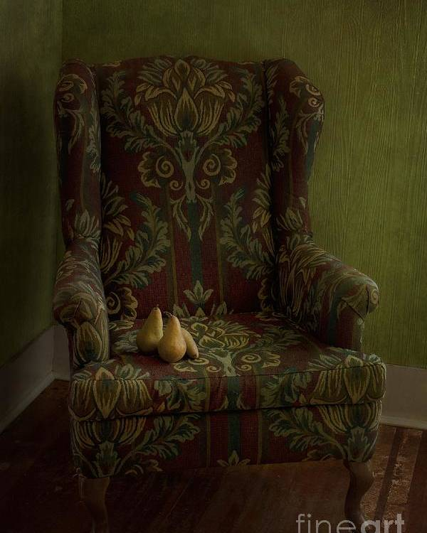 Chair Poster featuring the photograph Three Pears Sitting In A Wing Chair by Priska Wettstein