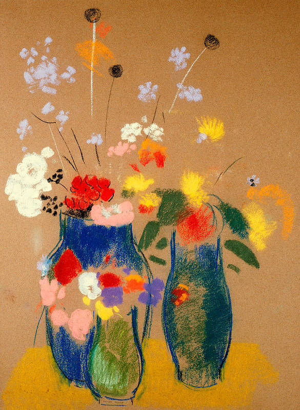 Vase; Still Life; Arrangement; Colourful Poster featuring the painting Three Vases Of Flowers by Odilon Redon