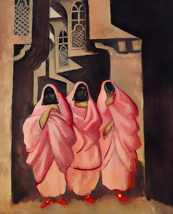 Painting Poster featuring the painting Three Women On The Street Of Baghdad by Mountain Dreams