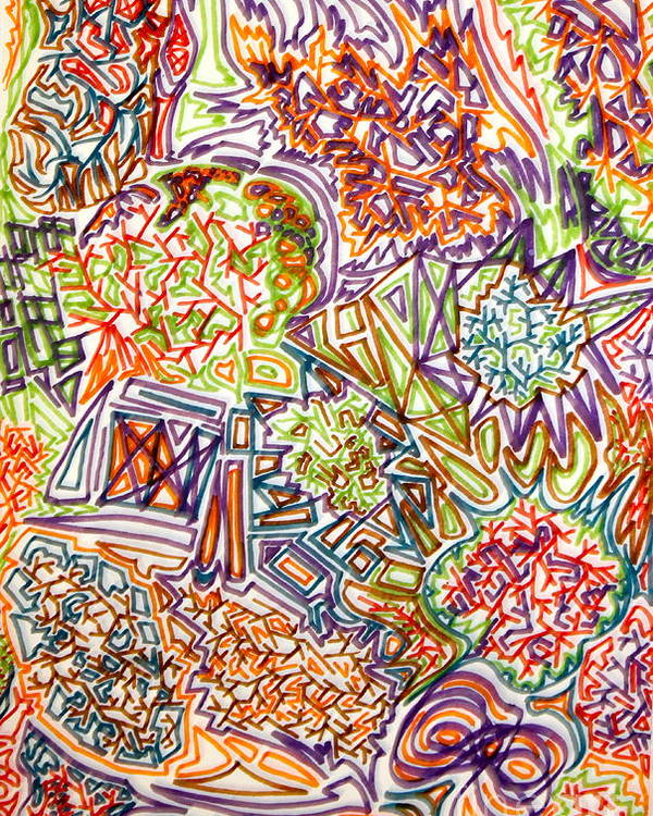 Abstract Poster featuring the drawing Through The Forces by Erin Masterson