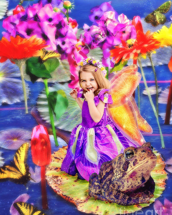 Thumbelina Beside Her Toad In Fairy Tale Pond Poster