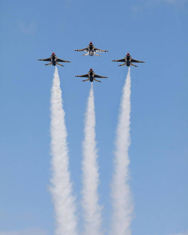 2012 Usaf Thunderbirds F-16 Airshow Quonest Point Ri Blue Sky Vertical Diamond Formation Poster featuring the photograph Thunder Diamond by John Maciel