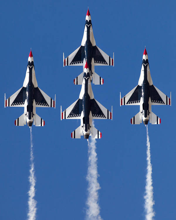 2012 Usaf Thunderbirds F-16 Airshow Quonest Point Ri Blue Sky Vertical Diamond Formation Poster featuring the photograph Thunder Diamond Straight Up by John Maciel