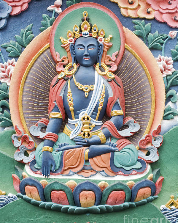 Buddha Poster featuring the photograph Tibetan Buddhist Temple Deity by Tim Gainey