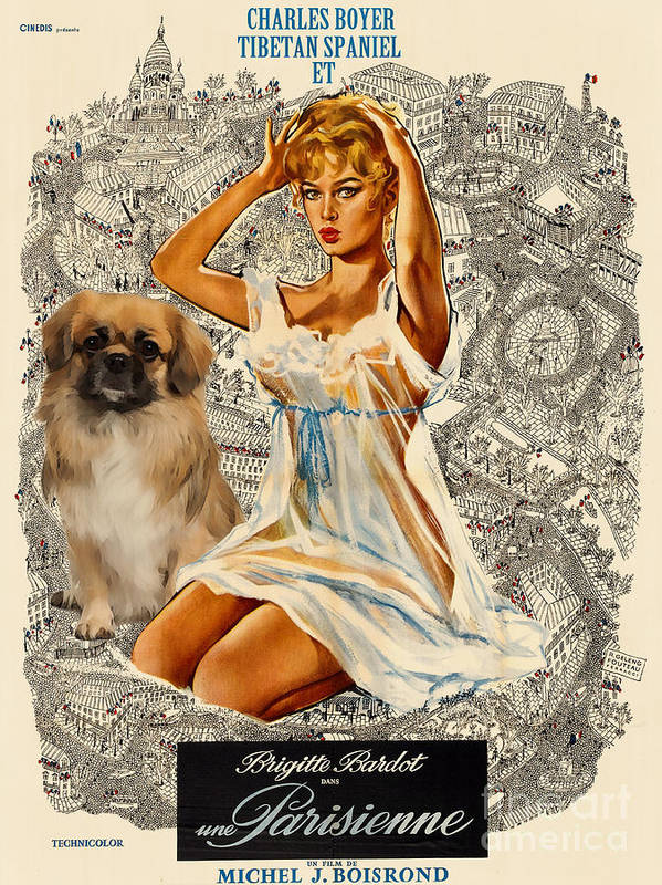 Dog Poster featuring the painting Tibetan Spaniel Art - Una Parisienne by Sandra Sij