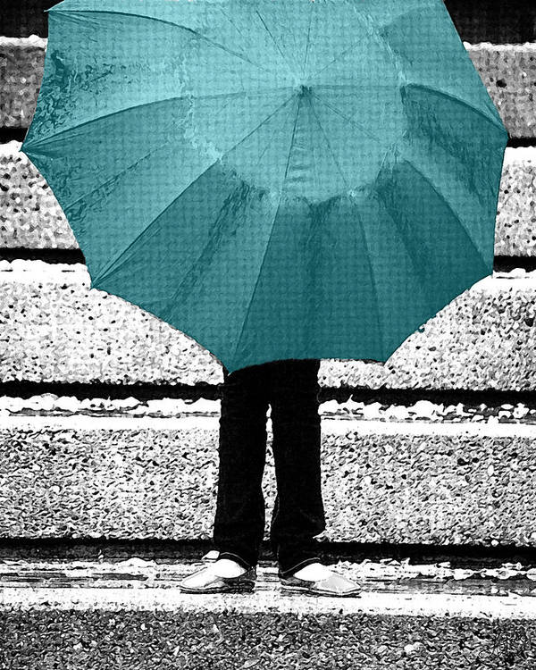 Tiffany Blue Poster featuring the photograph Tiffany Blue Umbrella by Lisa Knechtel