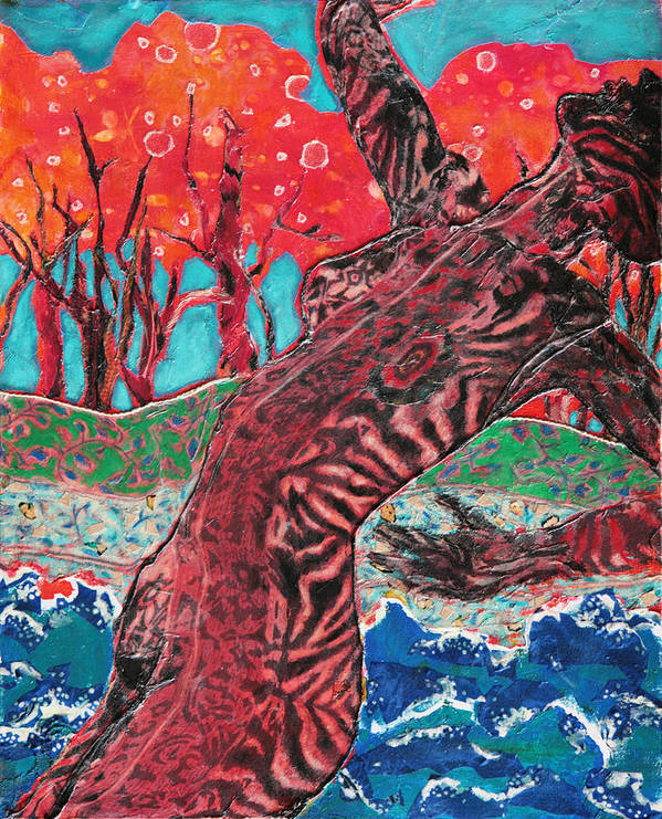 Mixed Media Nude Poster featuring the mixed media Tiger Lady by Diane Fine