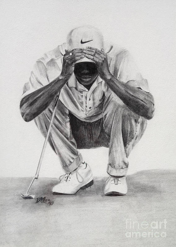 Tiger Woods Poster featuring the drawing Tiger Putting by Devin Millington