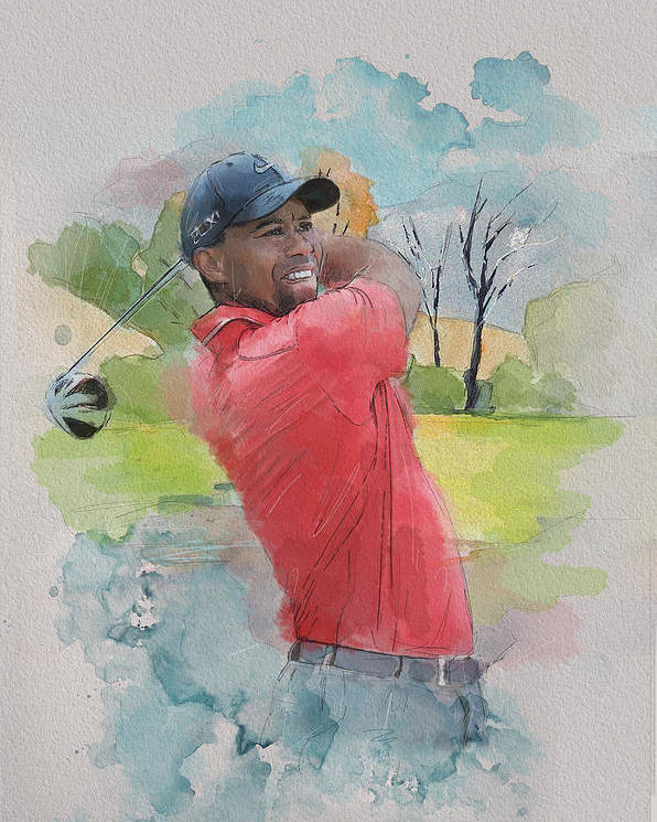 Sports Poster featuring the painting Tiger Woods by Catf