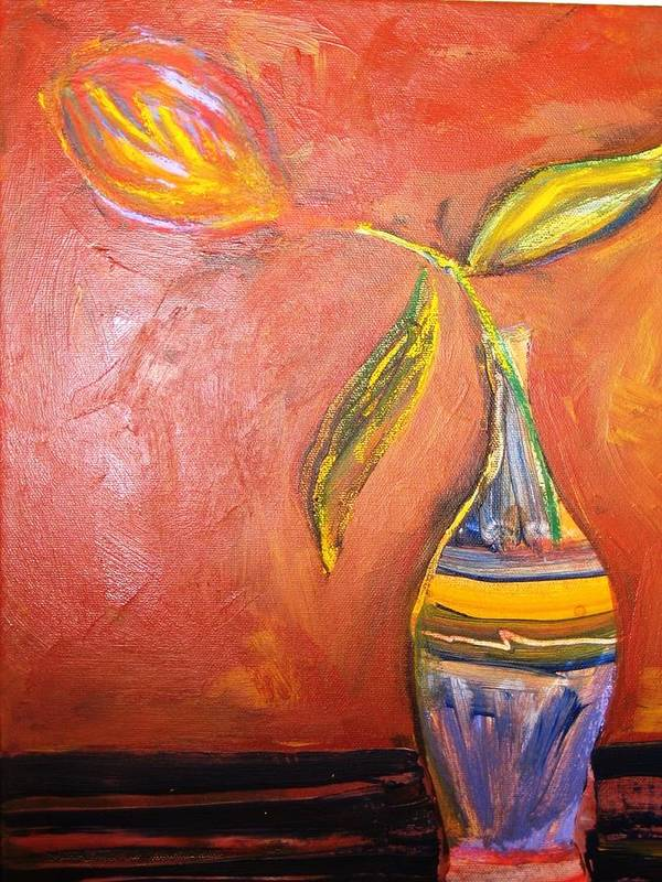 Flower Poster featuring the painting Tilted Tulip by Rashne Baetz