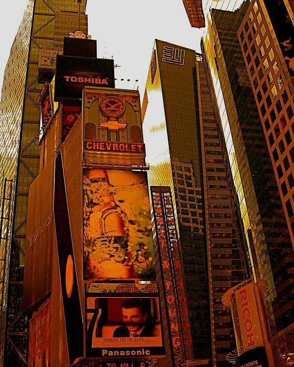 Manhattan Posters And Prints Poster featuring the photograph Times Square In Manhattan by Monique Wegmueller