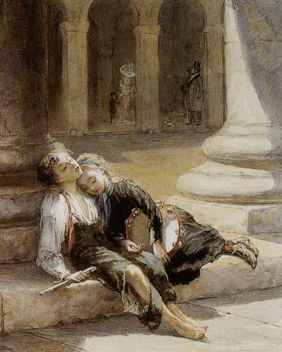 Augustus Edwin Mulready Poster featuring the digital art Tired Minstrels by Augustus Edwin Mulready