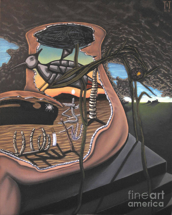 Surreal Poster featuring the painting To Kick A Sleeping Dog by Mack Galixtar