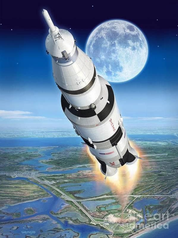 Apollo Poster featuring the digital art To The Moon Apollo 11 by Stu Shepherd