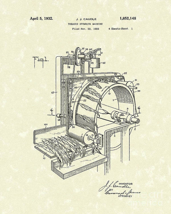 Caudle Poster featuring the drawing Tobacco Machine 1932 Patent Art by Prior Art Design