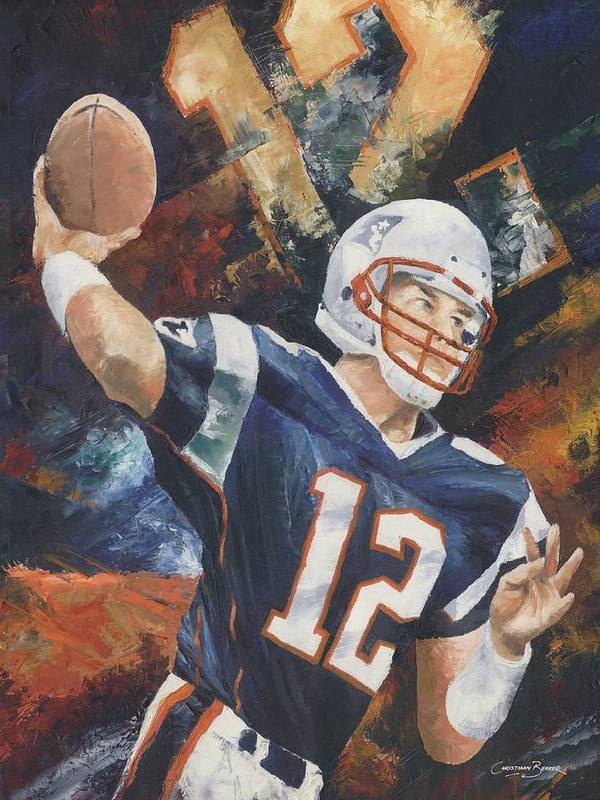 Football Poster featuring the painting Tom Brady by Christiaan Bekker