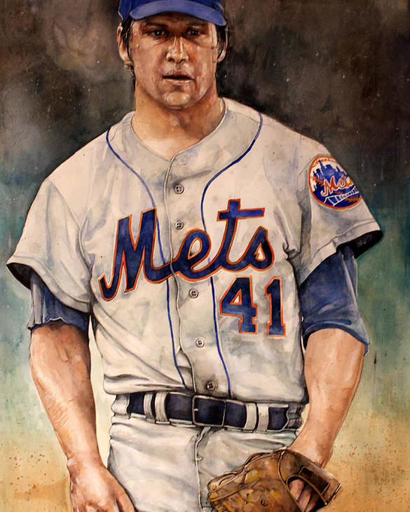 Tom Poster featuring the painting Tom Seaver by Michael Pattison