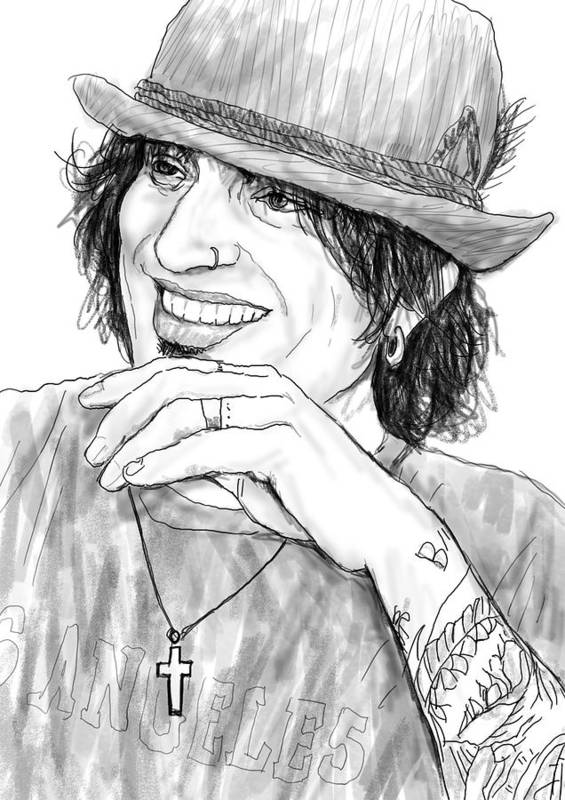 Tommy Lee Art Drawing Sketch Portrait Poster featuring the drawing Tommy Lee Art Drawing Sketch Portrait by Kim Wang