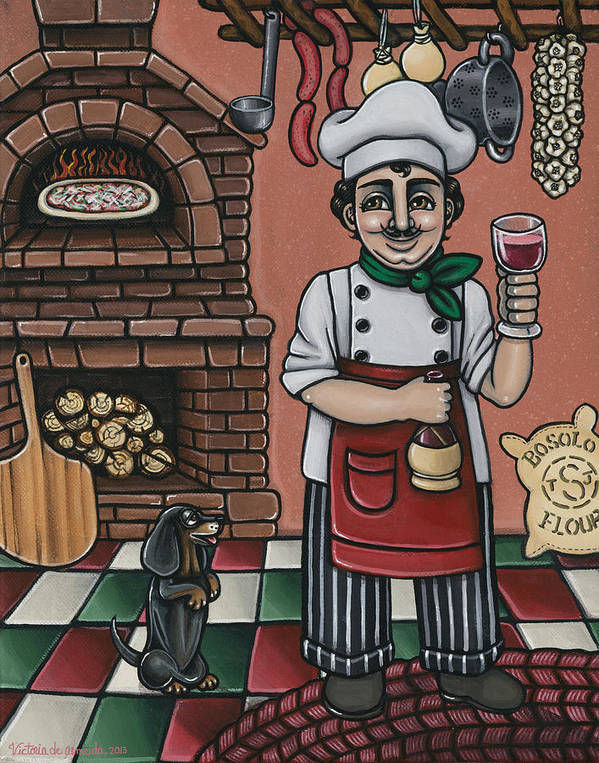 Italy Poster featuring the painting Tommys Italian Kitchen by Victoria De Almeida