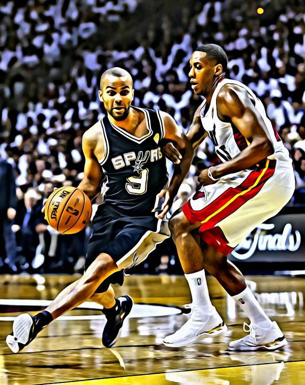 National Poster featuring the painting Tony Parker Painting by Florian Rodarte