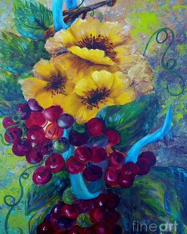 Yellow Poster featuring the painting Too Delicate For Words - Yellow Flowers And Red Grapes by Eloise Schneider