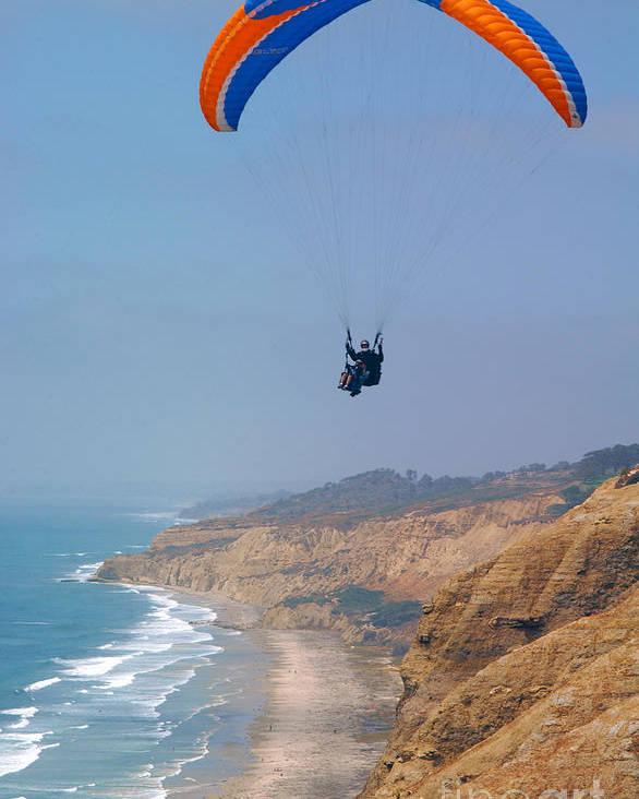 Paraglider Poster featuring the photograph Torrey Pines Paragliders by Anna Lisa Yoder