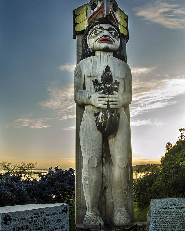 Night Shots Poster featuring the photograph Totem At White Rock by Irene Theriau