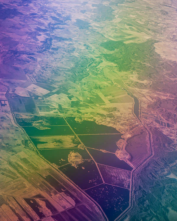Aerial Poster featuring the photograph Touch Of Rainbow. Rainbow Earth by Jenny Rainbow