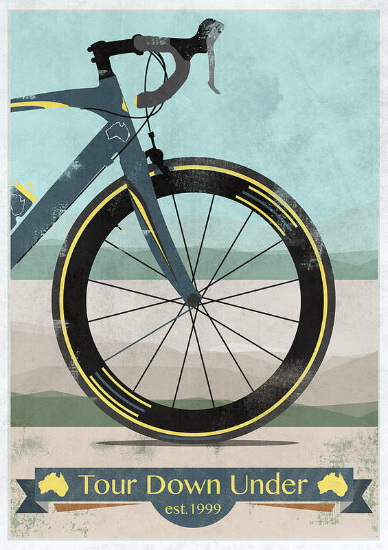 Australia Poster featuring the digital art Tour Down Under Bike Race by Andy Scullion