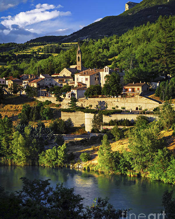 Sisteron Poster featuring the photograph Town Of Sisteron In Provence by Elena Elisseeva
