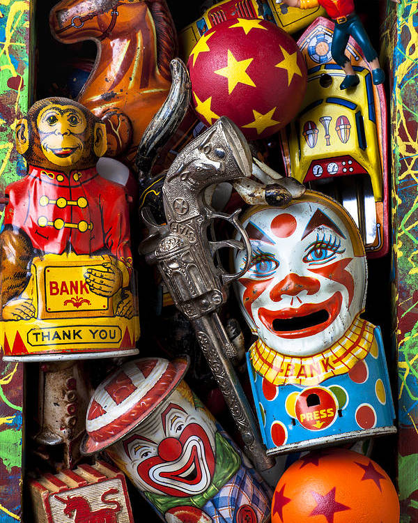 Clown Poster featuring the photograph Toy Box by Garry Gay