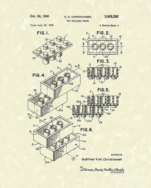 Christiansen Poster featuring the drawing Toy Building Brick 1961 Patent Art by Prior Art Design