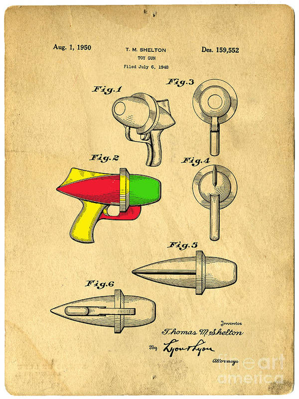 Toy Poster featuring the drawing Toy Ray Gun Patent II by Edward Fielding