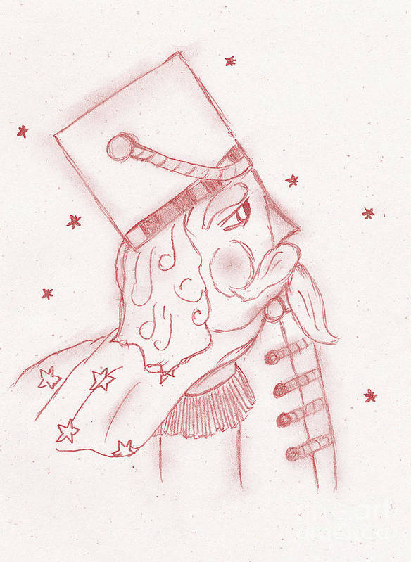 Toy Soldier Poster featuring the drawing Toy Soldier Nutcracker In Red by Sonya Chalmers