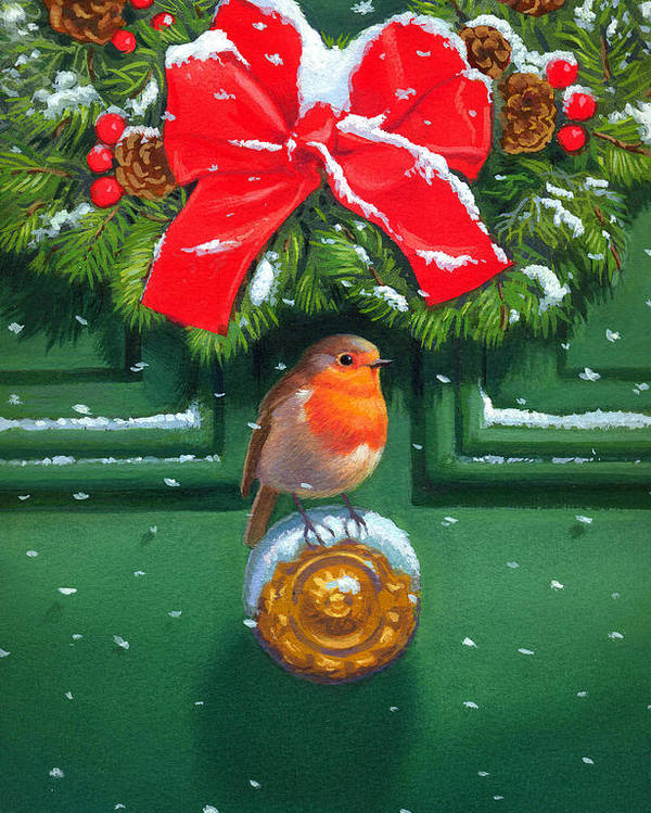 Robin Poster featuring the painting Traditional Robin by David Price