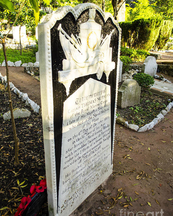 Gibraltar Poster featuring the photograph Trafalgar Cemetery Headstone by Deborah Smolinske