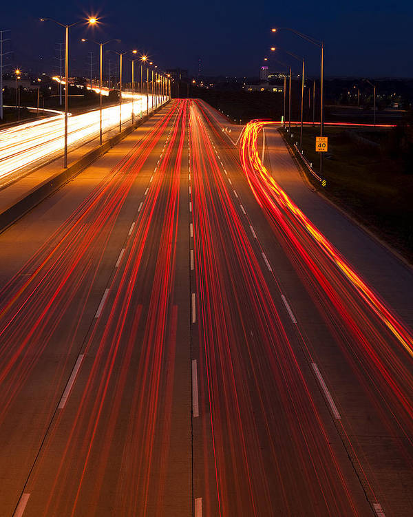 Traffic Poster featuring the photograph Traffic Trails At Twilight by Andrew Soundarajan