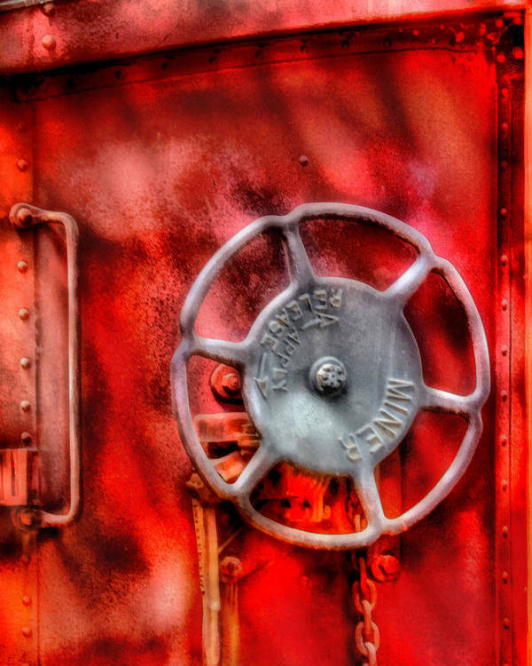 Savad Poster featuring the photograph Train - Car - The Wheel by Mike Savad
