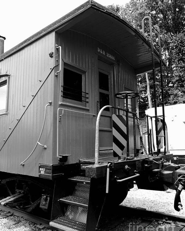 Paul Ward Poster featuring the photograph Train - The Caboose - Black And White by Paul Ward