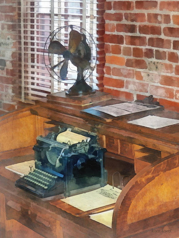 Typewriter Poster featuring the photograph Trains - Station Master's Office by Susan Savad