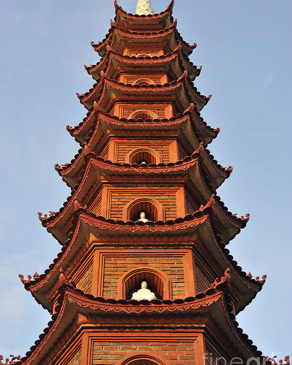 Tran Poster featuring the photograph Tran Quoc Pagoda In Hanoi by Sami Sarkis